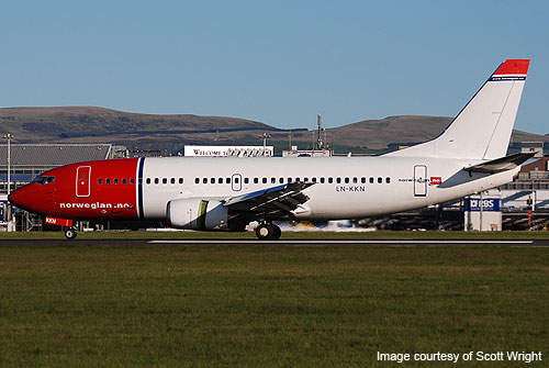 A Norwegian Air Shuttle Boeing 737-300 at Glasgow Prestwick Airport.