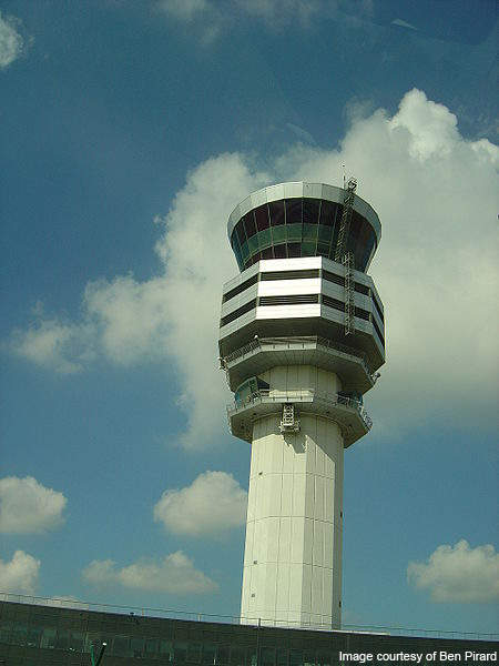 Control tower at the Brussels International Airport.