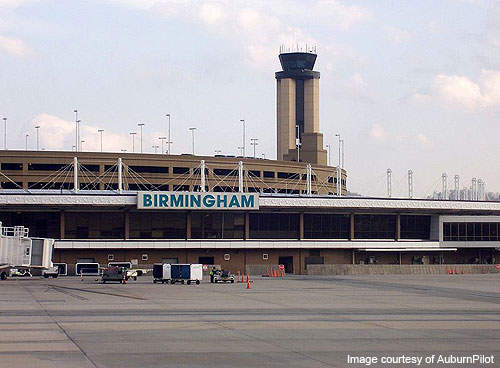 Birmingham International Airport terminal, tower, and parking deck.