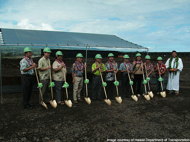 Ground breaking event of the new cargo facility at the airport in November 2009.