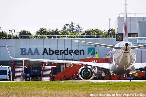 Aircraft parked at the Aberdeen Airport.