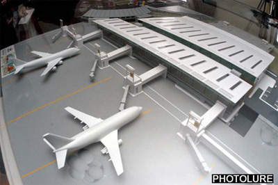 Model of the new terminal at Zvartnots International Airport, which resembles an aircraft wing.