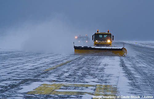 Snow being cleared from the runway at Bergen Airport.