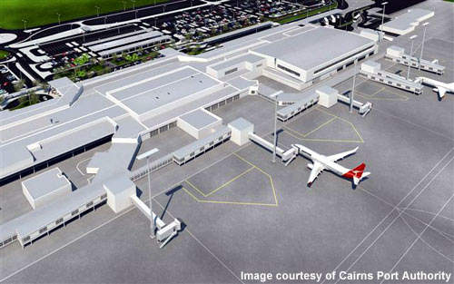 Both domestic and international terminals are being redeveloped at Cairns Airport.
