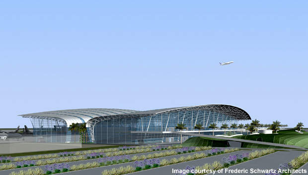 The Tamil Nadu State Government has allocated 130 acres of land for the development of a second runway at Chennai International Airport. Credit: Frederic Schwartz Architects.