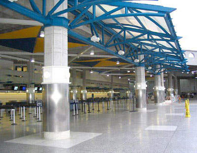 Departure area at the newly expanded Grantley Adams terminal building.