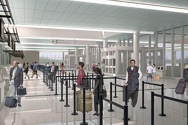The renovated and upgraded airline ticketing hall at the airport. Image courtesy of Charleston County Aviation Authority.