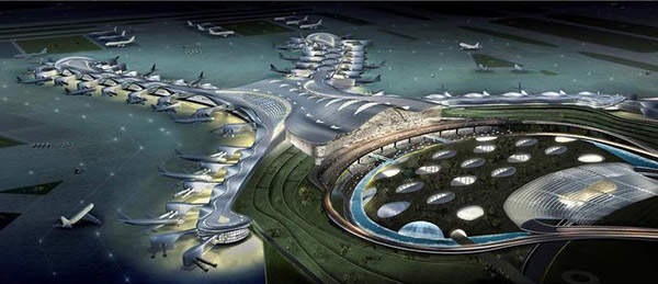 The new terminal at Abu Dhabi International Airport features an X-shaped design.