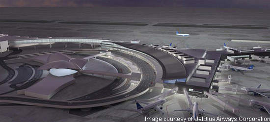 The new JetBlue terminal from the south showing a circular road drop-off area.