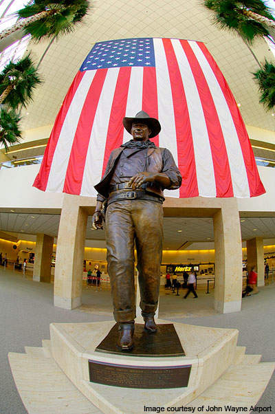 JWA John Wayne Statue, a 9-foot bronze statue of John Wayne, is situated in the baggage claim area at the Airport.
