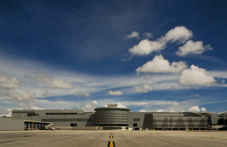 Contruction of Miami International Airport's south terminal was delayed for two years and cost $1.1bn.