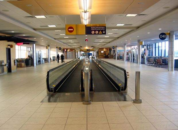 New moving walkways in concourse D.