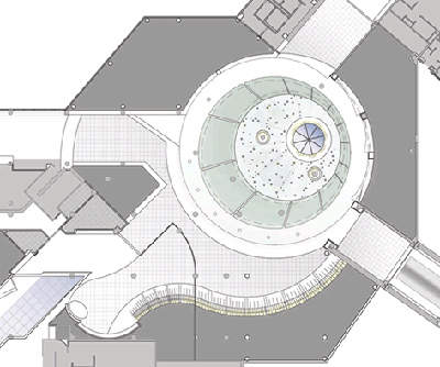 A plan showing the skylight for the renovated terminal.