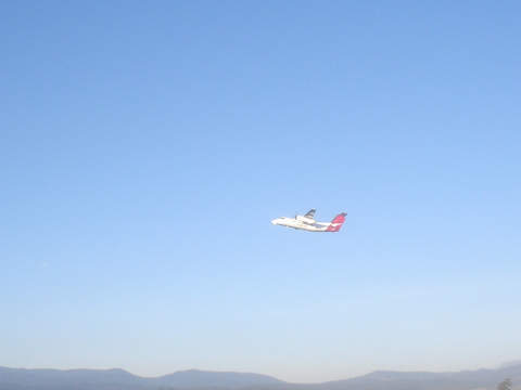 A QuantasLink plane taking off from Launceston.