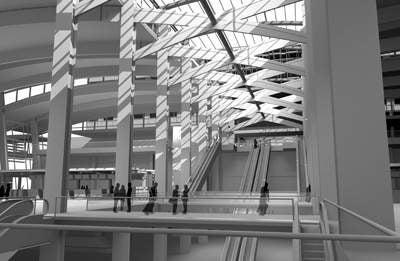 Inside the atrium of the new Terminal B.