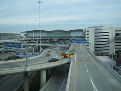 Roads leading to the San Francisco International Airport terminal.