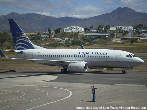A Copa Airlines-operated Boeing 737-300 aircraft at the airport in Tegucigalpa, Honduras.