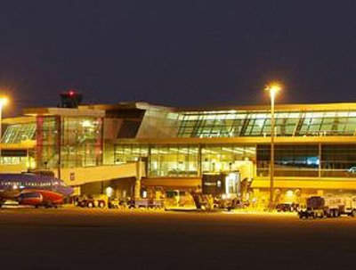 The new Will Rogers World Airport concourse at night.