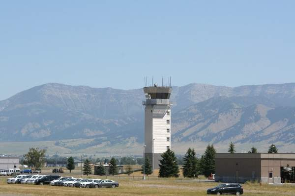 Air traffic control tower at Bozeman Yellowstone International Airport.