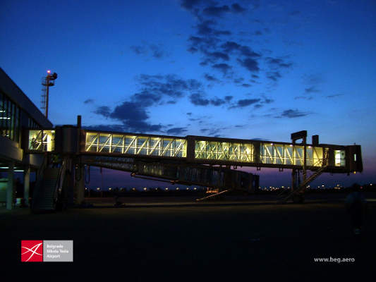 The airport has 15 air bridges. Image courtesy of www.beg.aero