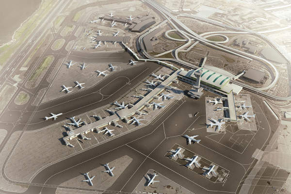 An artist's view of JFK Terminal 4 when expanded. Image courtesy of SOM.