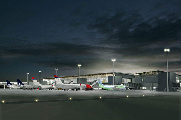 The new terminal at Bergen Airport has a pier with six aircraft parking stands. Image courtesy of Nordic - Office of Architecture.