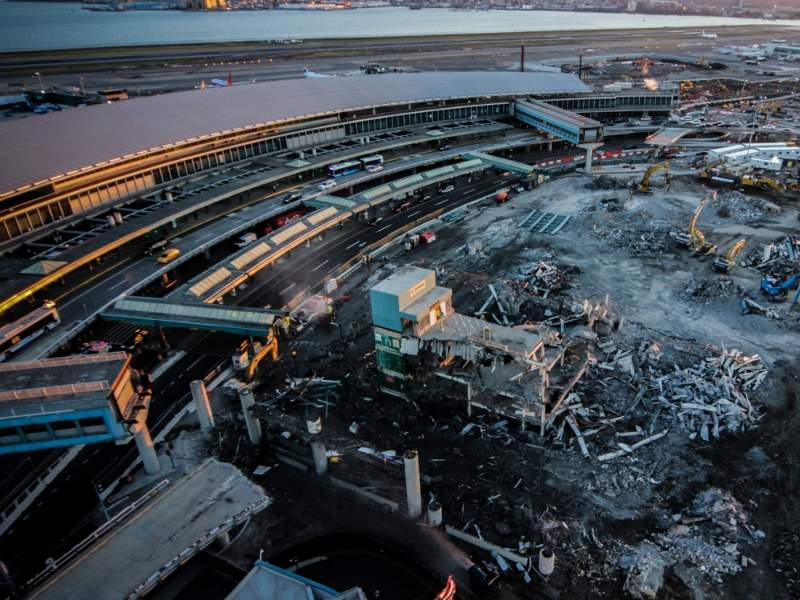 The old P2 parking garage at LaGuardia Airport was demolished, clearing the site for the future LaGuardia Central Terminal B headhouse.