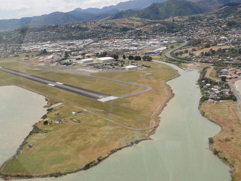 Nelson airport features a single runway designated 20/02. Image courtesy of Marc van der Chijs.