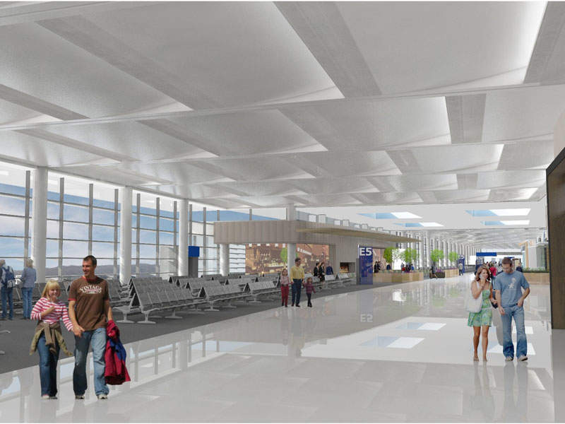 The south concourse will provide airline hold rooms and new passenger facilities.