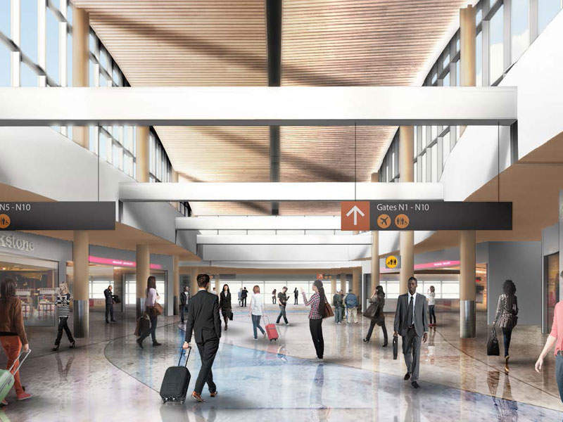 The new spaces are designed to allow more natural light into the interiors. Image courtesy of Port of Seattle.