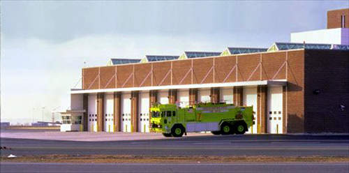 A computer-generated image of Logan Airport's new central fire station (external). The new airside facilities include three new fire rescue stations.