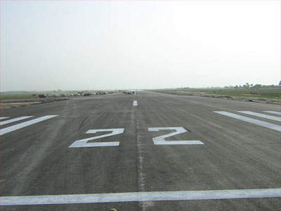The completed runway which is now hosting flights for testing and limited cargo.