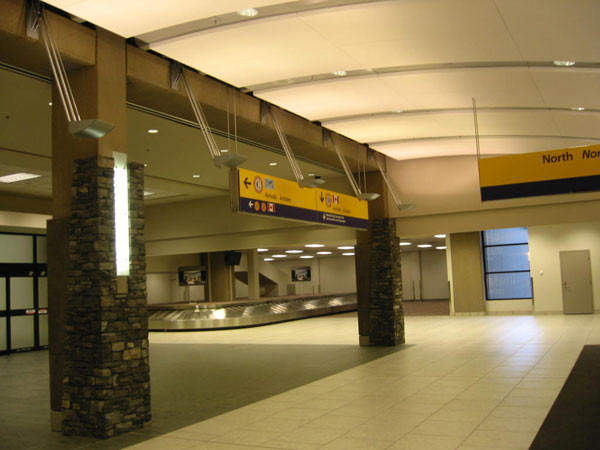 The Calgary International Airport arrivals hall.