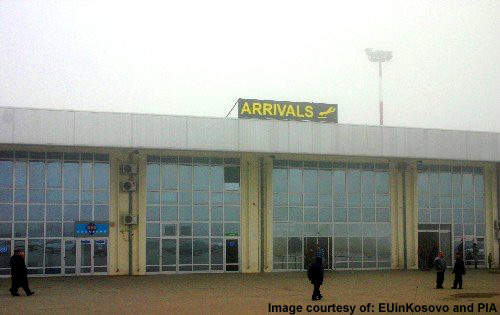 The arrivals terminal at Priština International.