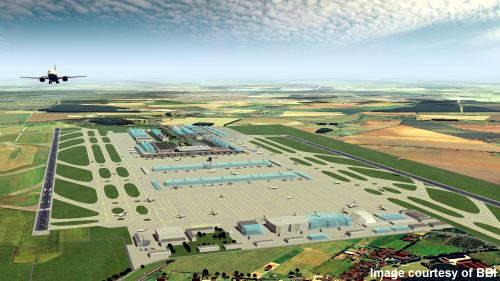 The new Berlin-Brandenburg terminal will be midfield between two parallel runways.