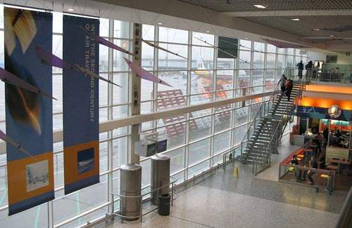 Terminal two offers views of airport operations.