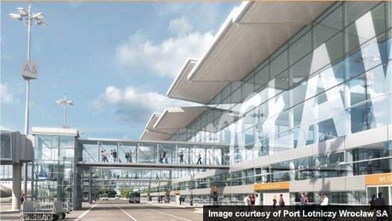 New terminal air bridges for passenger convenience.