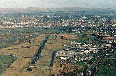 An aerial view of Glasgow Airport.