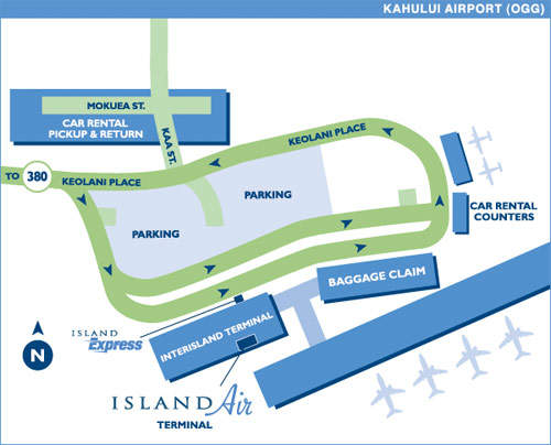 A map of Kahului Airport facilities.