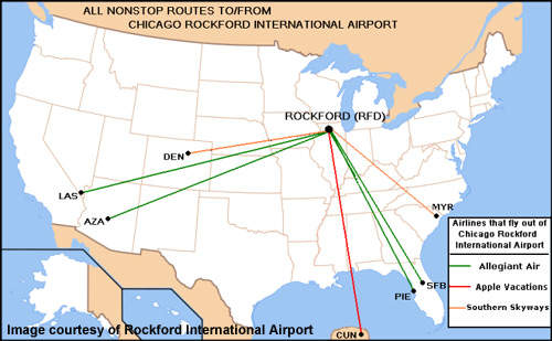 The passenger routes run from Rockford International Airport at the current time.