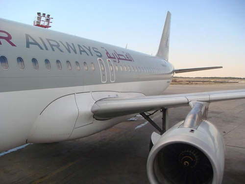 Qatar Airways A320 at Kuwait International Airport.