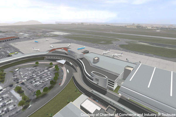 An aerial view of the Toulouse terminal building following the improvements.