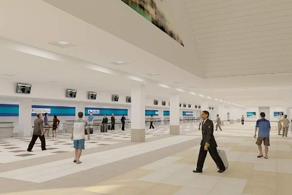 Interior concept design of the expanded check-in hall.