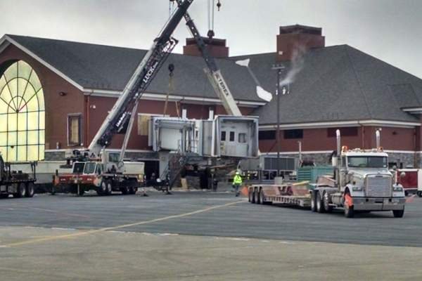 The jet bridge at the terminal has been relocated as part of the expansion. Image courtesy of Plattsburgh International Airport.
