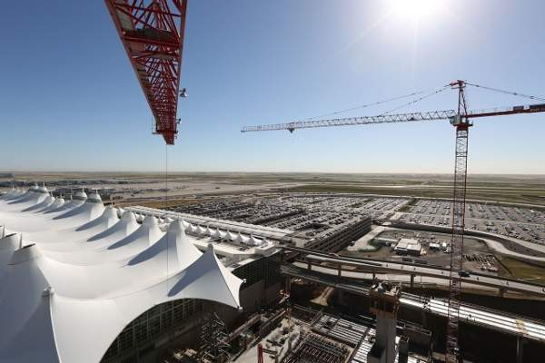 The construction of the RTD station and the Westin hotel and conference centre started in March 2013. Image courtesy of Denver International Airport.