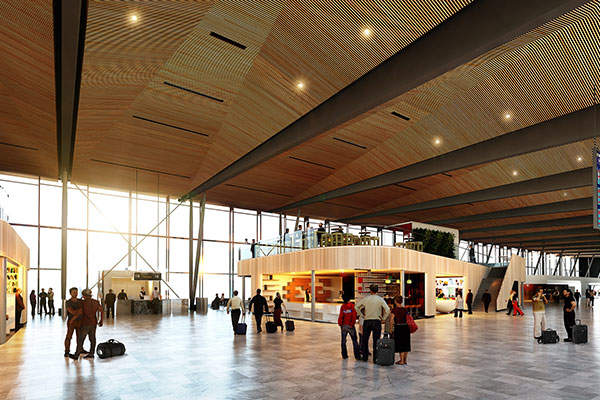 A rendition of the gate area in the new pier of Terminal 3. Image courtesy of Nordic - Office of Architecture.