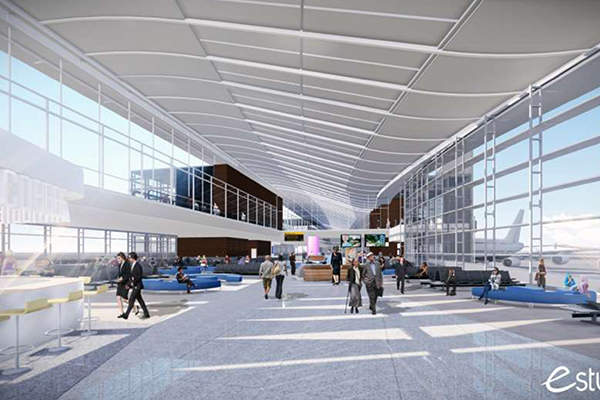The new terminal will feature spacious holdrooms with natural light and airfield views. Image: courtesy of Houston Airport System.