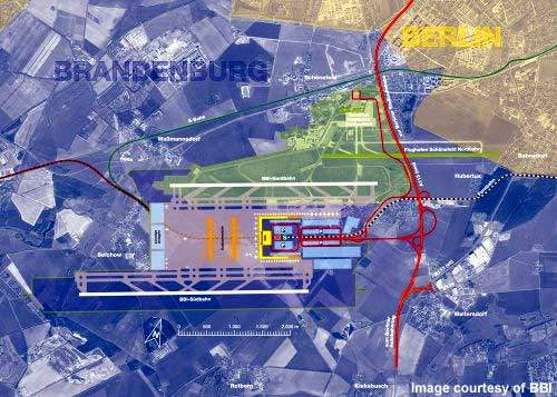 An aerial plan showing the vicinity of the airport to Berlin.
