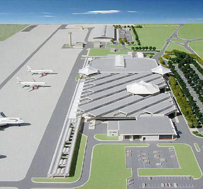 Model of Grantley Adams Airport after completion of the works including airbridges.