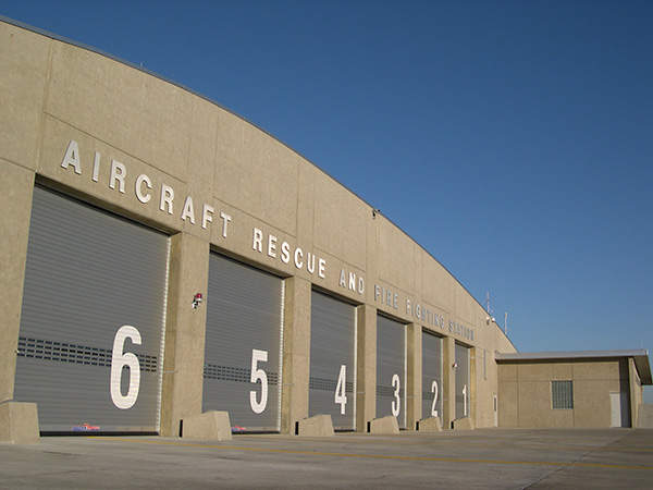 The aircraft rescue and fire fighting station at the airport.